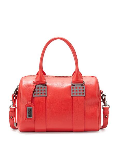 Badgley Mischka Ally Pebbled-Leather Satchel Bag, Red