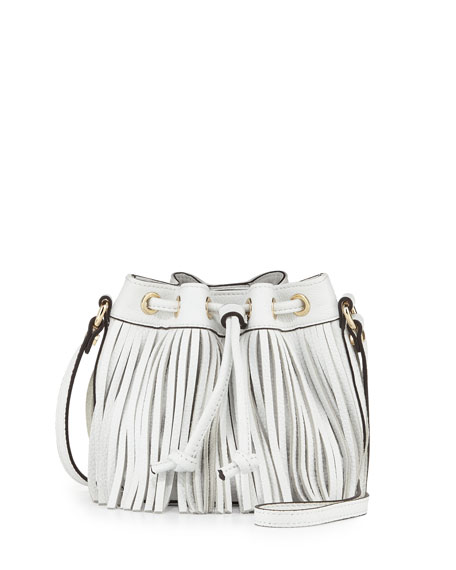 Rebecca Minkoff Lexi Micro Fringe Bucket Bag, White