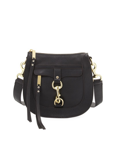Leather Dog Clip Saddle Bag, Black