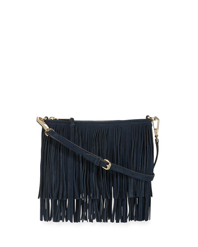Finn Fringe Suede Crossbody Bag, Moon