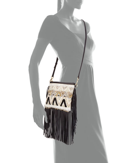 Taj Beaded Fringe Crossbody Bag, Black/White