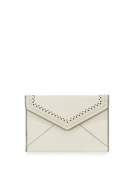 Leo Whipstitch Envelope Clutch Bag, Antique White