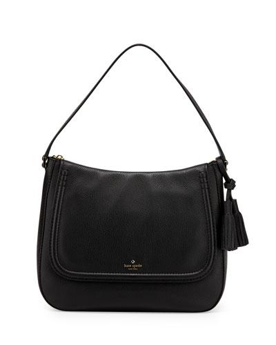 orchard st. treana leather shoulder bag, black/cream