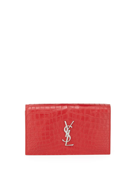 Saint Laurent Croc-Embossed Leather Clutch Bag, Rouge Red
