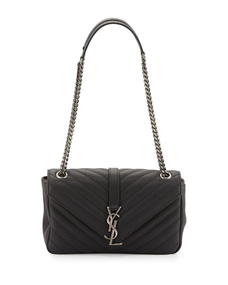 Saint Laurent Monogram Small Leather Flap Shoulder Bag, Black