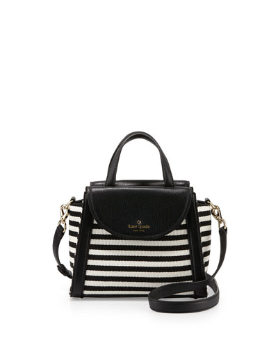 small adrien leather-trim cobbile hill striped bag, black/cream