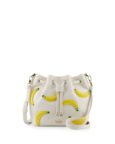 mini leather bananas bucket bag, urchin pink