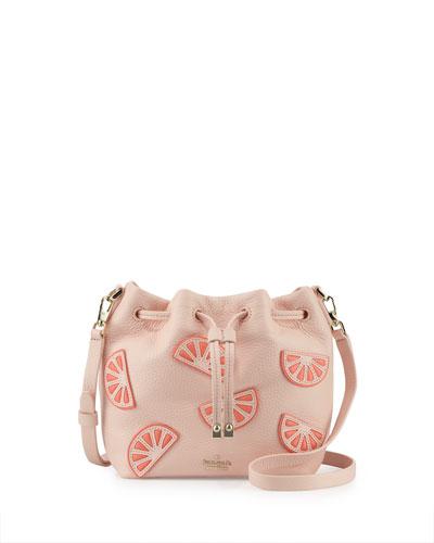 mini leather grapefruit bucket bag, urchin pink