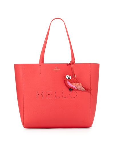 hello hallie perforated tote bag, watermelon