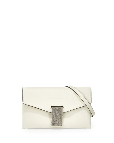 Brunello Cucinelli Mini Envelope Crossbody with Monili Closure,