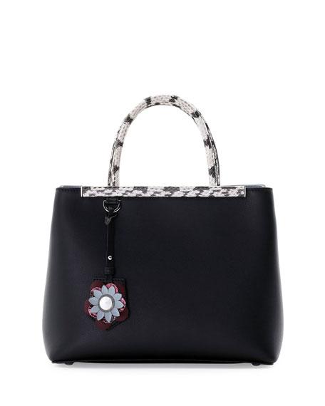 Fendi 2Jours Petite Snakeskin-Trim Satchel Bag, Black