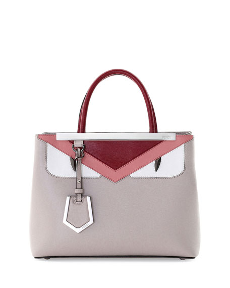 FendiPetite 2Jours Monster Satchel Bag, Taupe/Pink/Red