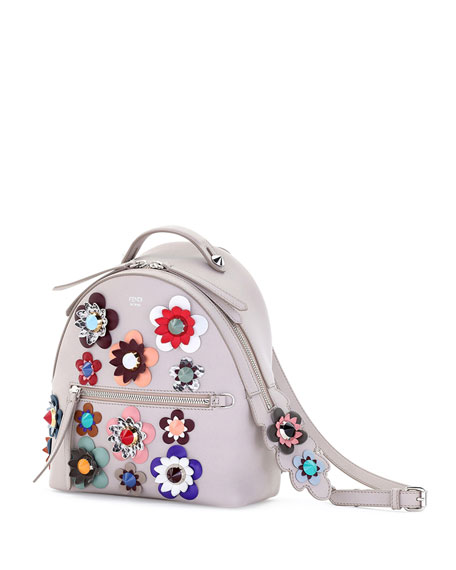 Mini Allover Flowers Backpack, Taupe