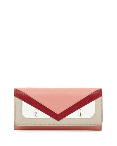 Monster Leather Wallet-On-Chain, Red/Pink/Taupe