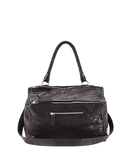 Givenchy Pandora Medium Leather Satchel Bag, Black