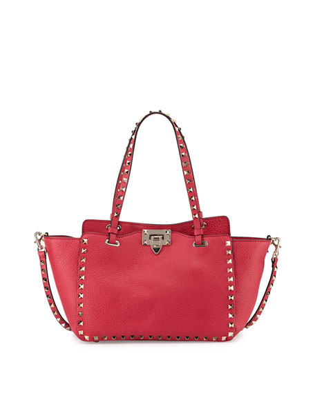 Valentino Rockstud Mini Latch-Lock Tote Bag, Fuchsia Pink