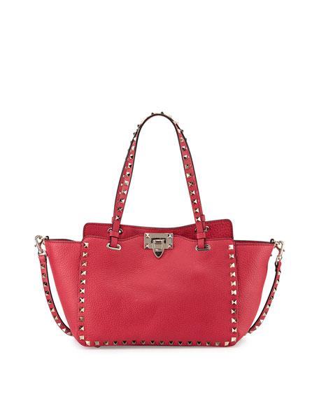 Valentino Rockstud Mini Latch-Lock Tote Bag, Fuchsia Pink