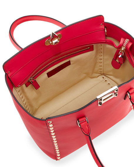 Rockstud Leather Shopper Tote Bag, Bright Red
