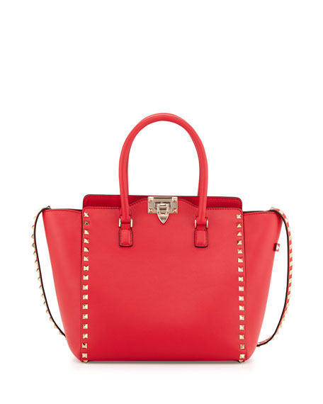 Valentino Rockstud Leather Shopper Tote Bag, Bright Red