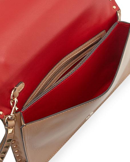 Rockstud Flap Wristlet Clutch Bag, Beige