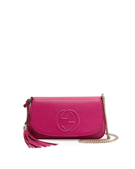 Gucci Small Soho Leather Shoulder Bag, Bright Pink