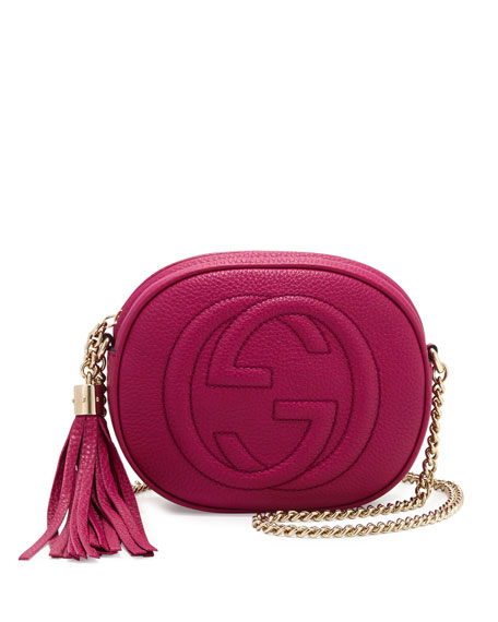 Soho Leather Mini Shoulder Bag, Bright Pink