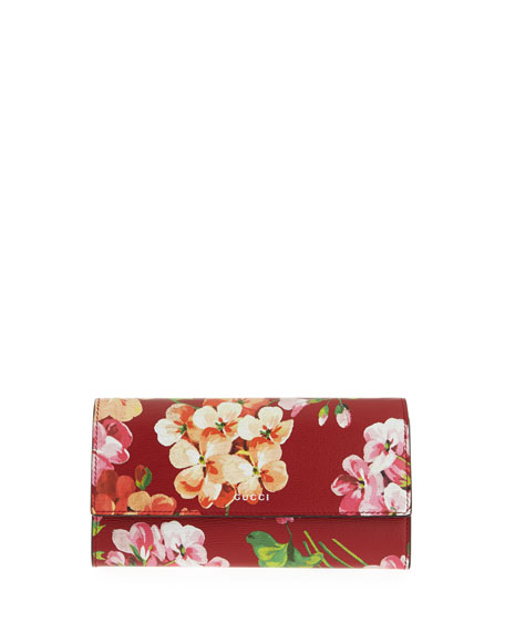 8ac5a7d44029bd Gucci Flap-Front Blooms Continental Wallet, Cerise Red/Multi | Neiman Marcus