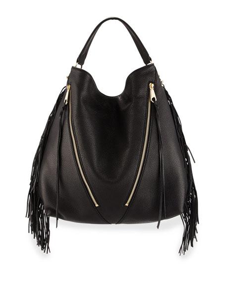 Fringe Moto Leather Hobo Bag Black