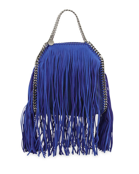 Stella McCartney Falabella Fringe Mini Tote, Blue Bird