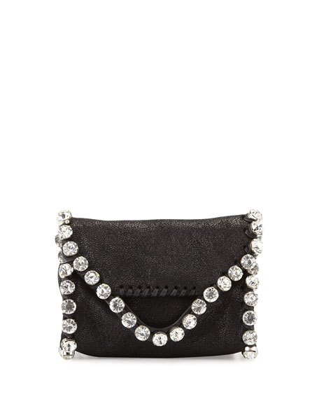 Stella McCartney Falabella Tiny Crossbody with Crystals, Black