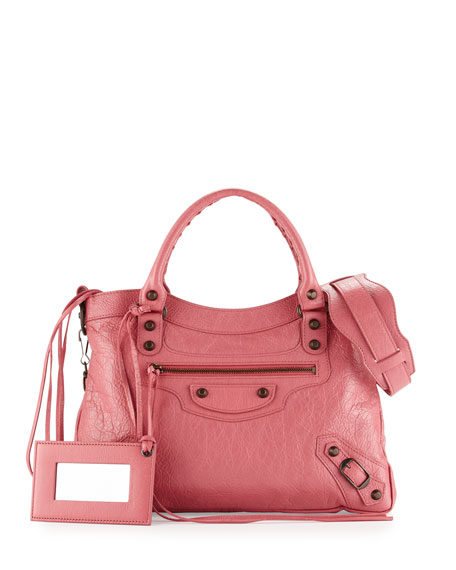 BalenciagaClassic Town Lambskin Tote Bag, Rose