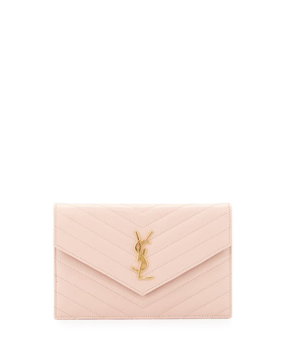 Monogram Leather Small Wallet-on-a-Chain Bag, Pale Pink