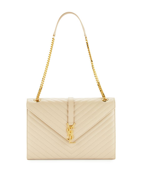 Saint Laurent Monogram Matelasse Shoulder Bag, Beige