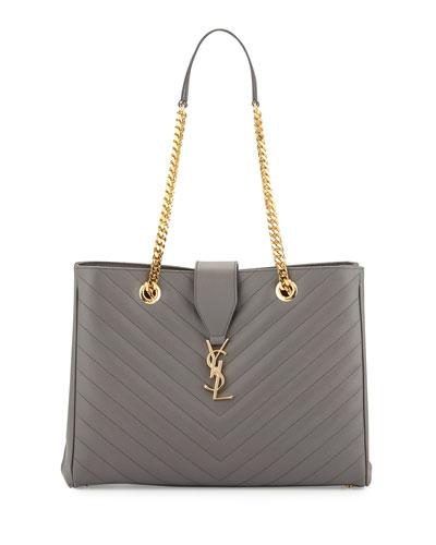 Monogram Matelasse Large Shopper Bag, Earth Gray