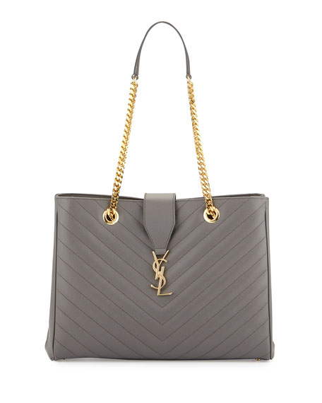 Saint Laurent Monogram Matelasse Large Shopper Bag, Earth