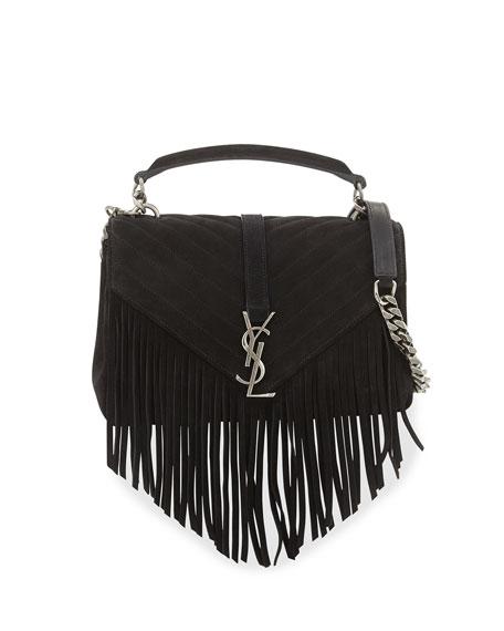 Saint LaurentMonogram Fringe College Suede Shoulder Bag, Black