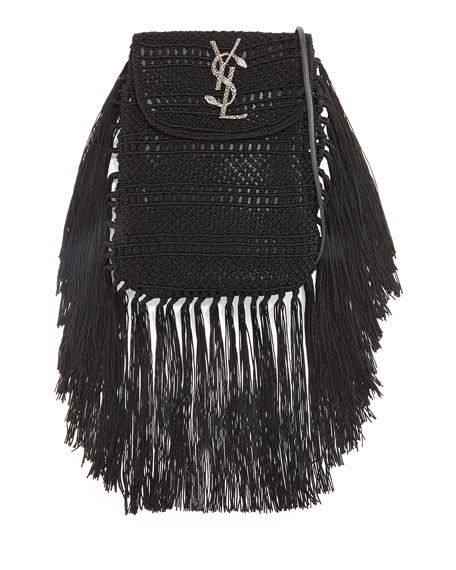 Saint Laurent Anita Fringe Crochet Leather Small Crossbody Bag, Black