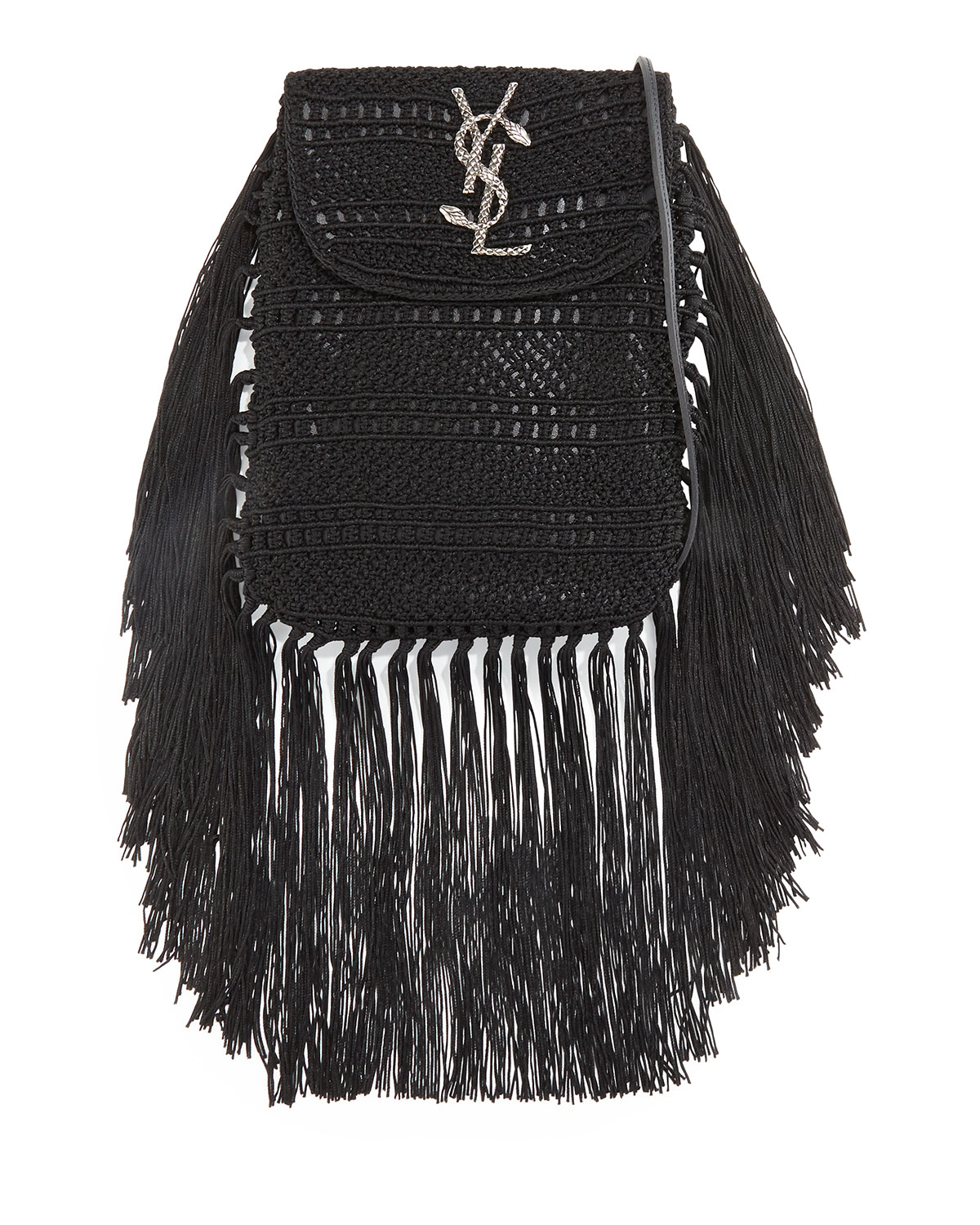 155ee878a4 Saint Laurent Anita Fringe Crochet Leather Small Crossbody Bag ...