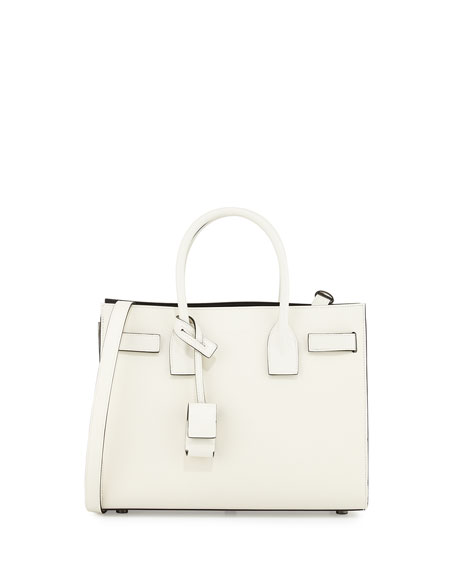 Saint Laurent Sac de Jour Baby Satchel Bag, White