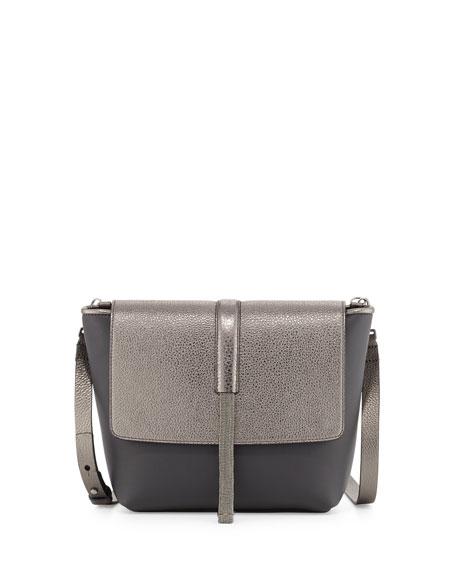 Brunello Cucinelli Small Matte/Metallic Flap Messenger Bag with