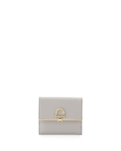 Icona Saffiano French Wallet, Gris