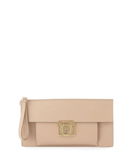 Salvatore Ferragamo Ada Lock Story Clutch Bag, New