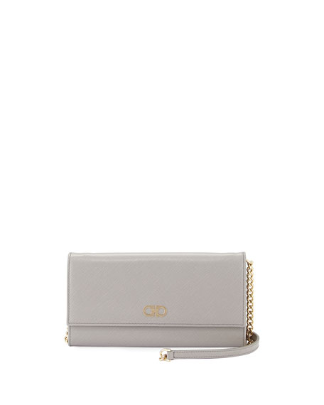Salvatore Ferragamo Gancini Icona Mini Wallet-On-Chain Bag, Gris