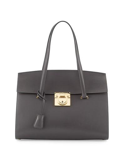 Mara Lock Story Medium Satchel Bag, Fumee