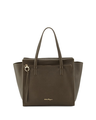 Amy Large Gancio Leather Shopper Tote Bag, Forest