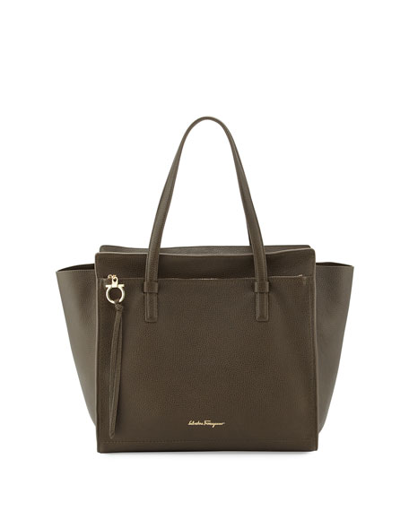 Salvatore Ferragamo Amy Large Gancio Leather Shopper Tote