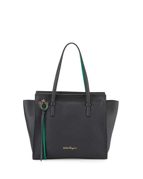 Salvatore Ferragamo Amy Medium Gancio Leather Tote Bag,