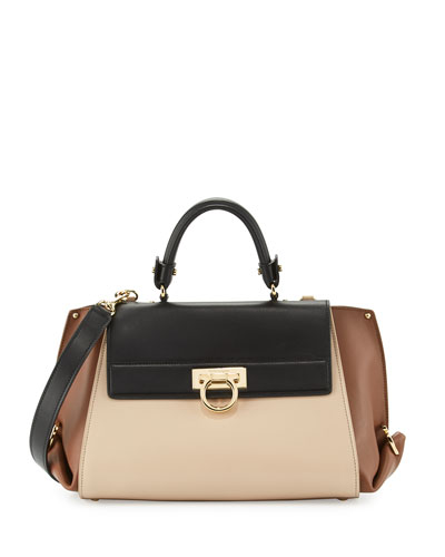 Sofia Medium Colorblock Leather Satchel Bag, Macadamia/Ecorce/Nero