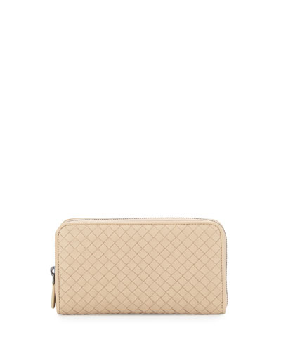 Intrecciato Continental Zip-Around Wallet, Mink