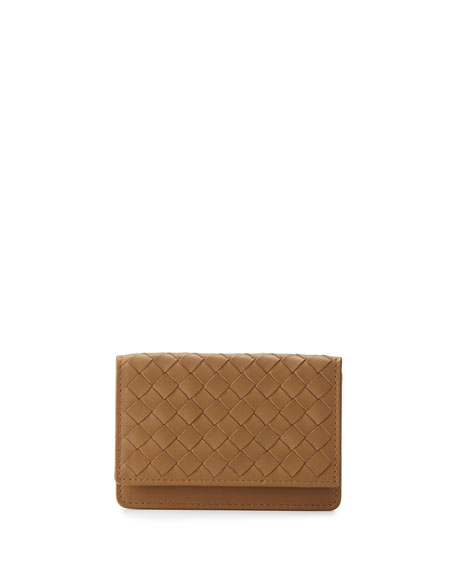 Bottega Veneta 5/6 Flip Credit Card Case, Camel
